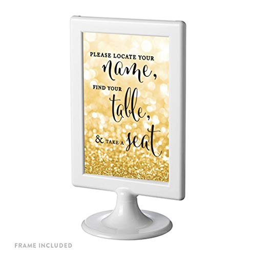 Andaz Press Framed Wedding Party Signs, Glitzy Gold Glitter, 4×6-inch, Please Locate Your Name, Find Your Table, Take a Seat, 1-Pack