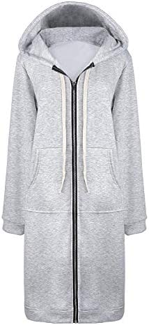 Women's Casual Zip up Hoodies Long Tunic Sweatshirts Jackets Fashion Plus Size Hoodie with Pockets