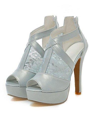 LFNLYX Zapatos de mujer-Tacón Stiletto-Tacones / Plataforma / Punta Abierta-Sandalias-Boda / Vestido / Fiesta y Noche-Encaje / Semicuero-Negro / White