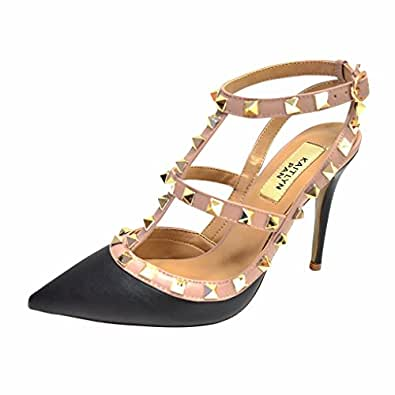 Kaitlyn Pan RockStud Slingback High Heel Leather Pumps (10.5US/ 42EU/ 44CN, Black Matte/Nude Straps/Gold Studs)
