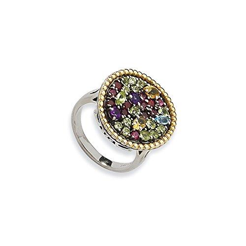 Tw Multi Gemstone Ring (Top 10 Jewelry Gift Sterling Silver w/14k 1.88tw Multi Gemstone Ring)