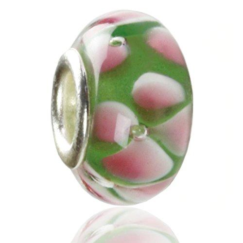 Hidden Gems - 1 x Drops Femme, Plaqué Argent Perle De Charm Européen avec les pétales roses
