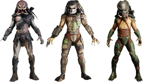 NECA Predators 2010 Movie Series 2 Set of 3 Action Figures Tracker, BD Classic Berserker Unmasked