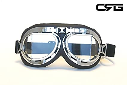 DSstyles Steampunk Aviator Pilot Style Motorcycle Cruiser Scooter Goggles with Smoke Lenses Vintage Cool Motorcycle Windproof Glasses with Smoke Lenses