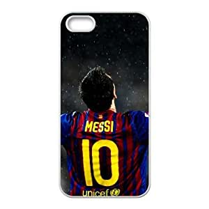 JiHuaiGu (TM) iPhone 5 5s funda Blanco LionMessi Tema personalizado iPhone 5 5s funda LD7881