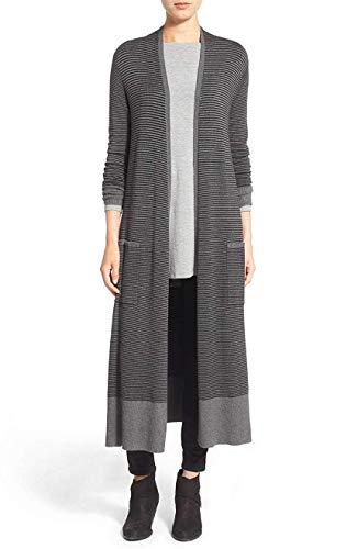 Eileen Fisher Women's Stripe Long Duster Cardigan Sweater, Ash/Black, Petite Petite