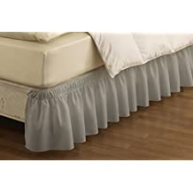 Easy Fit Wrap Around Solid Ruffled Bed Skirt, Queen/King, Grey