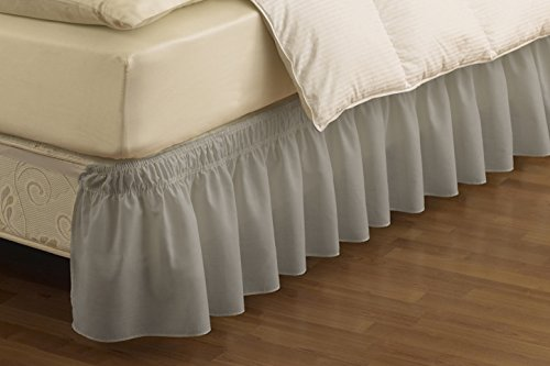 EasyFit Wrap Around Solid Ruffled Bed Skirt, Queen/King, Gre