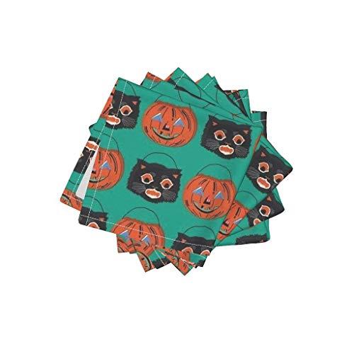 Vintage Linen Cotton Cloth Cocktail Napkins - Halloween Jack O Lantern Black Cat by Heidikenney (Set of 4) 10 x 10in