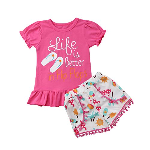 Toddler Baby Little Girls Mermaid Top T-Shirt Shorts Pant Outfits Sets Daddy's Princess 2pcs Summer Clothes (Pink, 3-4 -