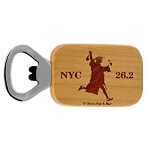Gone For a Run New York 26.2 Statue of Liberty Maple Bottle Opener