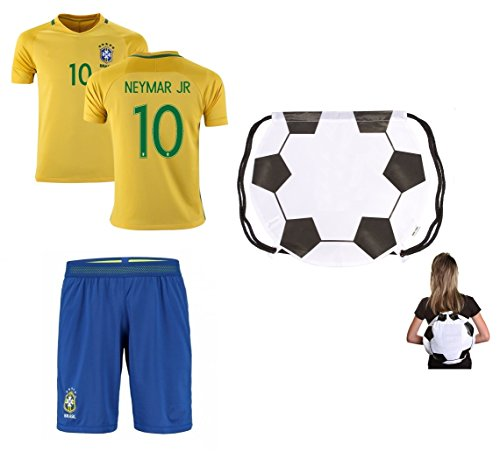 Brazil Home NEYMAR Kids #10 Soccer Kit Jersey and FREE Shorts All Youth Sizes (Kids Large 10-13 years of age) (Brazilian Jersey)