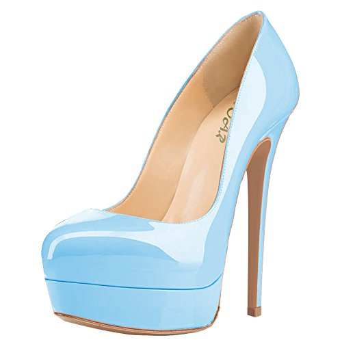 79e8a2bf393b AOOAR Women s Hidden Platform High Heel Skyblue Patent Party Pumps 10.5 M  US - Buy Online in Oman.