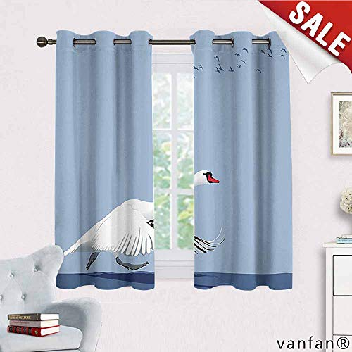Flying Birds Decor Curtain Bedroom,Swan Taking Off from The Water Flying Birds in The Sky Wildlife Large Birds Art for Kids Youth Room,White Navy W55 x L72 ()