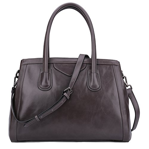 Yafeige Womens Leather Vintage Handbags Top Handle Bags Work Tote Shoulder Satchels Handbag Cross Body bag for Ladies(Gray) by Yafeige