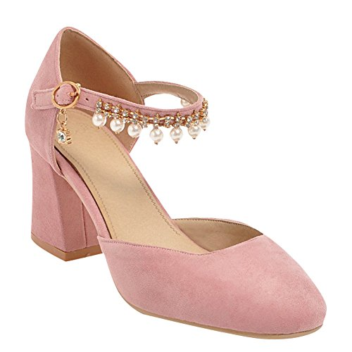 Carolbar Femmes Perles Strass Boucle Haut Talon Robe De Mariée Chaussures Rose