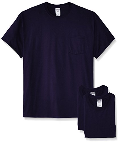 (Jerzees Men's White Adult Short-Sleeve Pocket T-Shirts (3-Pack), Navy, Large)