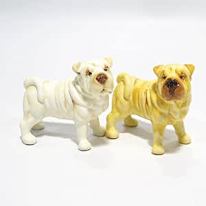Shar Pei Dog Ceramic Figurine Salt Pepper Shaker 00008 Ceramic Handmade Dog Lover Gift Collectible Home Decor Art and Crafts