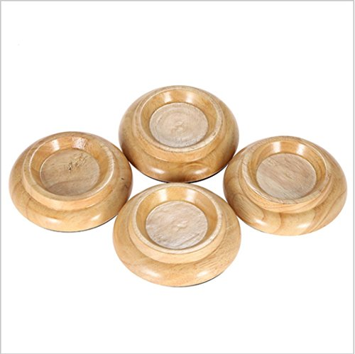 Solid Wood Piano Caster Furniture Round Wheel Cups Gripper Set Load Bearing for Bright Piano [4 Pack] ( 4.0x3.0x2.5 inches) (Wood color-paino caster-)