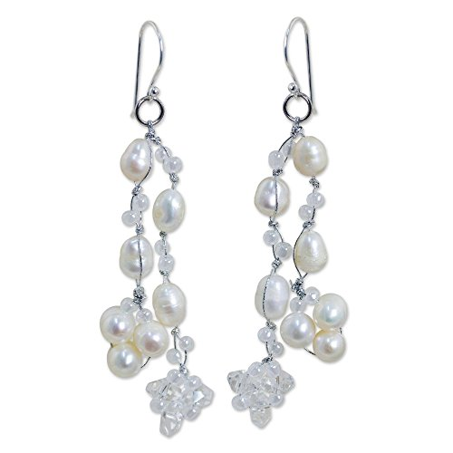 NOVICA Cultured Freshwater Pearl Waterfall Earrings, Whisper' with .925 Sterling Silver Hooks