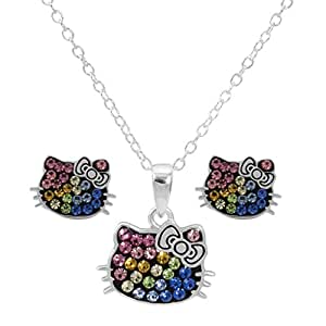 """Hello Kitty Women and Girls Jewelry, Sterling Silver Rainbow Crystal Pendant and Stud Earrings Set, 18"""" Chain"""