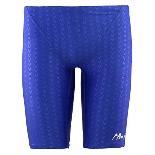 Panegy Herren Badehose Lang Polyester Unifarben Hälfte Schwimmhose Imitation Fischschuppenmuster Badehosen Shorts asiatische Größe XL - Blau