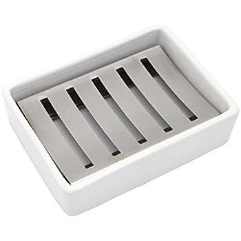 Amazon Com Ceramic Soap Dish Stainless Steel Soap Holder