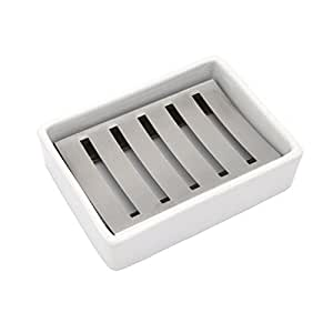 Ceramic Soap Dish Stainless Steel Soap Holder For Bathroom And Shower Double Layer