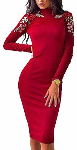 Jaycargogo Des Femmes De Cou Mock Broderie Florale Manches Longues Robe Moulante Midi Rouge