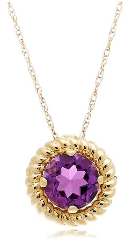 """14k Yellow Gold Amethyst Rope Trimmed Pendant, 18"""""""