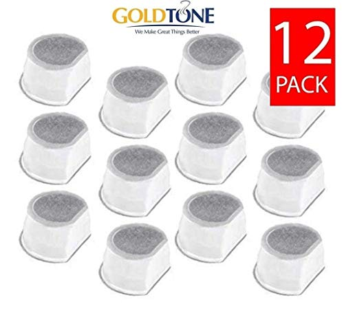 GoldTone 12-Pack, Replacement Pet Fountain Water Filters for Drinkwell Avalon, Drinkwell Pagoda & Drinkwell Sedona Pet Fountains, 12 - Fountain Avalon
