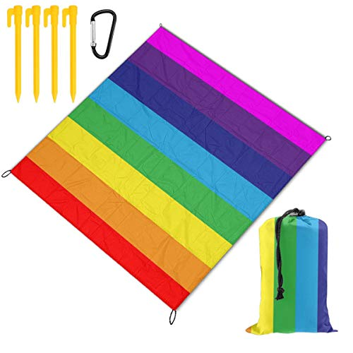 Rainbow-Stripes Beach Blanket Sand Proof and Waterproof Pocket Sized Picnic Mat Outdoor Beach Mat for Camping, Travel, Hiking, Festival, Sports, Picnics, Parks, Beach Trips and Your Own Backyard 59 x