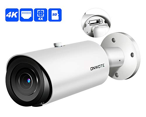 Support SD Card ONWOTE UltraHD 4K 8MP 4X Optical Zoom IP PoE Security Camera Outdoor, 3840x 2160 8.51 Megapixels, 200ft IR, Motorized Varifocal Lens 30 -120 View Angle, IP66, H.265 ONVIF