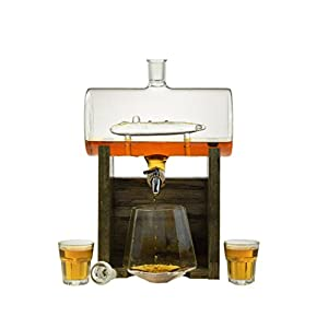 Submarine Liquor Decanter – Scotch Whiskey Decanter - 1150ml Dispenser for Alcohol - Vodka, Bourbon, Rum, Wine, Whiskey, Tequila or Even Mouthwash - Glass USS Parche by Prestige Decanters