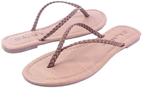 Non AgeeMi FemmeTire Unie Brun PU Cuir Shoes Sandales Talon Couleur nYrgTwYxq