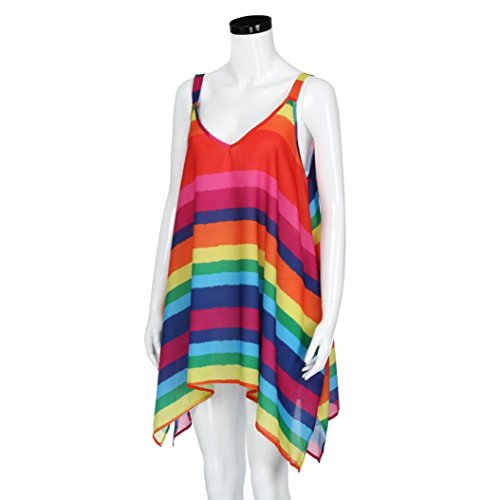 6cd9794c68d99 Anxinke Women Plus Size Sleeveless Blouse Long Pleated Rainbow Tank Top  (3XL