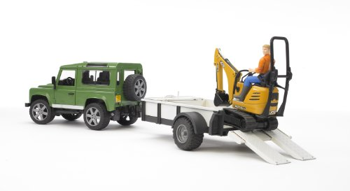 Bruder Land Rover Defender Rigid Drawbar Trailer Jcb Micro Excavator and Construction Worker