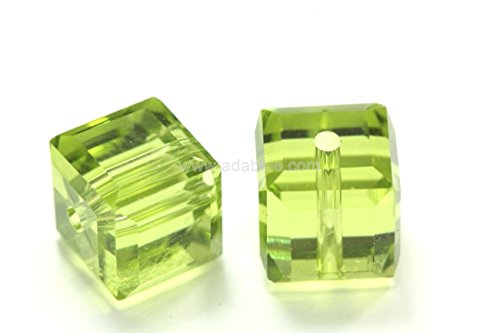 50 8mm Adabele Austrian Cube Crystal Beads Light Olivine Alternative For Swarovski Preciosa Crystalized 5601 #SSC817 Olivine Crystal Necklace