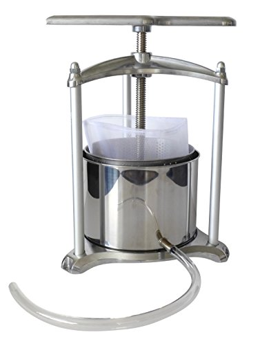 Fruit-Press-6-Liter-Heavy-Duty-Stainless-Steel-and-Aluminum-Includes-Filter-Bag-and-Tubing