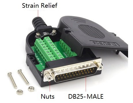 EZSync Male D-Sub DB25 Terminal Block Adapter Kit,Solderless Breakout, 2X Pack, DB25 Male, Positioning Nuts, EZSync906