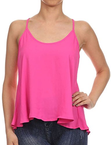 Women's Scoop Neck Chiffon Swing Cropped Tank Top Cami Blouse,Magenta (Baby Doll Layer Tank Top)