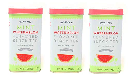 Trader Joes Mint Watermelon Flavored Black Tea - Pack of 3 Tins - 60 Sachets Total