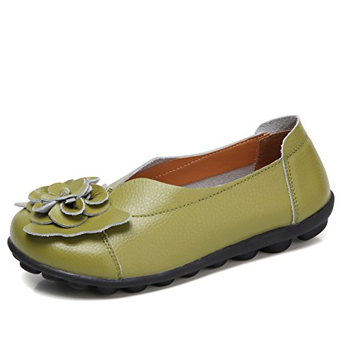 Loafer Leather Flat Shoes on Casual Green joyee Z Driving Slip Moccasin Women's pgwFaqI