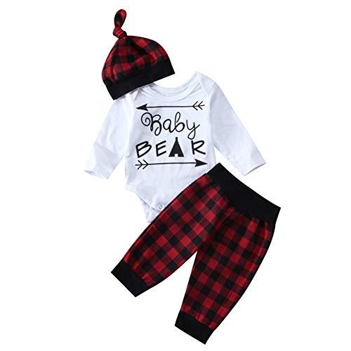 Newborn Baby Boy Girl Deer Romper Pants Leggings Hat 3pcs Outfits Set Costume (6-12 Months, Plaid)