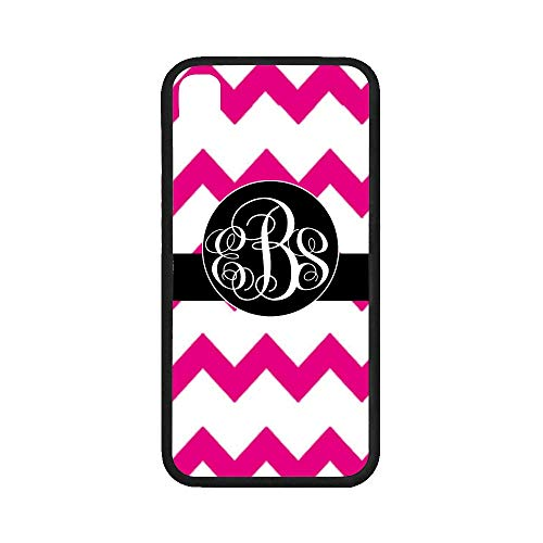 UlanLi iPhone X Case Hot Pink Jumbo Chevron with Black Monogram iPhone X Case Rubber Case for iPhone X 5.8 inch (with Hard Plastic Back)