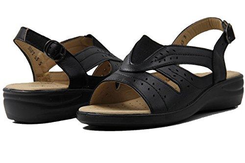 Image of Women's Memory Foam Sling Back Leaf Laser Cut Side Buckle Comfort Sandals