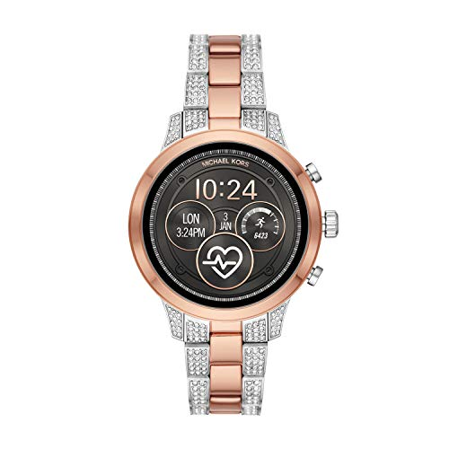 Michael Kors Access Womens Runway Touchscreen Smartwatch Stainless Steel Bracelet watch, Two tone Rose gold tone and silver, MKT5056