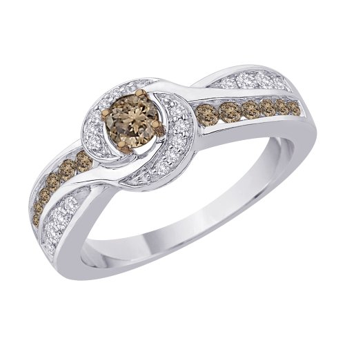 KATARINA Bypass Style Brown and White Diamond Ring in 10K White Gold (2/3 cttw) (Color-GH, Clarity-I2/I3)
