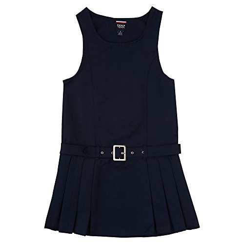 French Toast Big Girls' Belted Side Pleat Jumper, Navy, 8