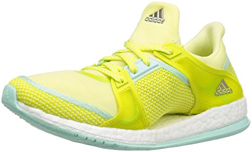 Charged Performance Shock - adidas Performance Women's Pure Boost X TR Cross-Trainer Shoe, Ice Yellow/Shock Slime/Ice Green Fabric, 8.5 M US